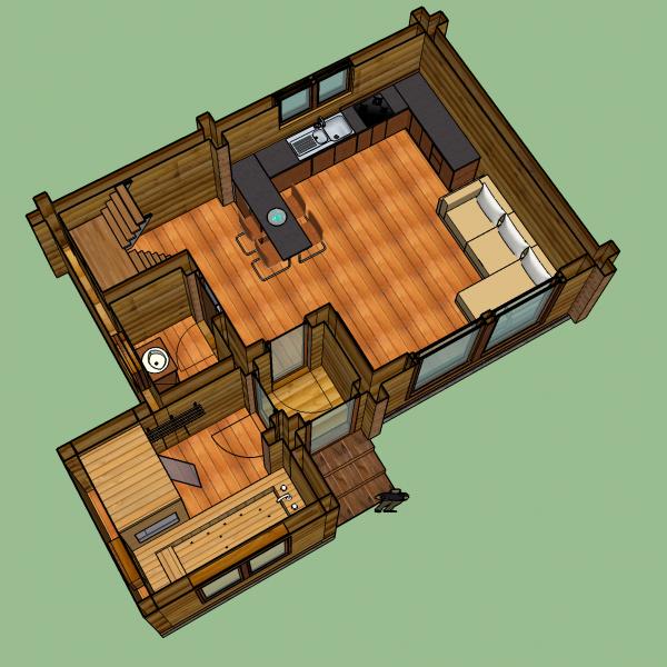 Log House – Sketch up